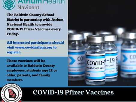 COVID-19 Pfizer Vaccine Available for Students Age 12 or Older, Parents, Employees & Family Members
