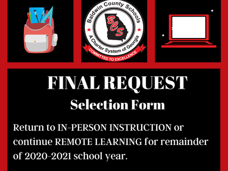 Final Request Selection Form for In-Person Instruction or Remote Learning