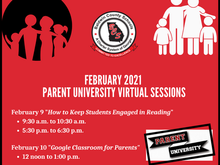 BCSD Parent University Virtual Sessions for February