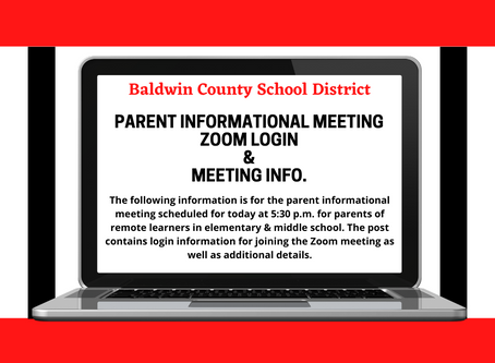 Parent Informational Meeting Zoom Info and Meeting Details