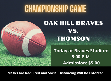 Oak Hill Championship Football Game Today