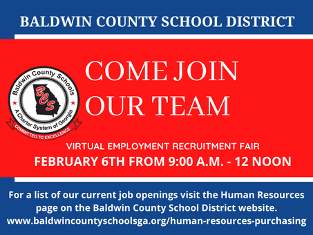 BCSD Virtual Employment Recruitment Fair February 6th