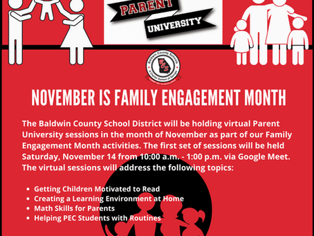 Family Engagement Month Parent University Virtual Sessions