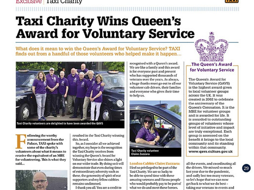 Taxi Charity wins Queen's Award for Voluntary Service, TAXI