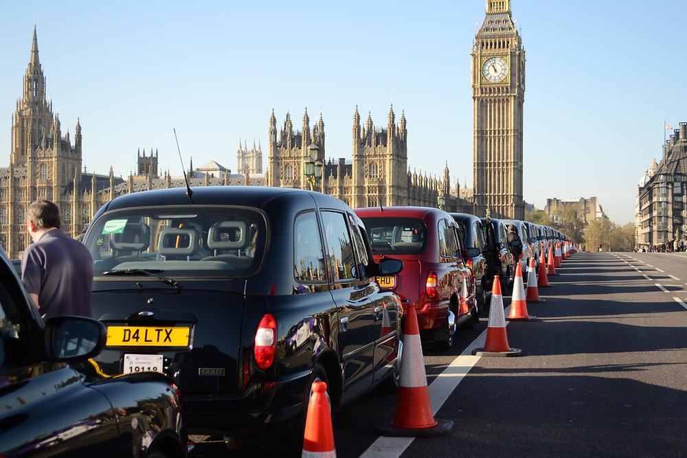 London cabs on Westminster Bridge