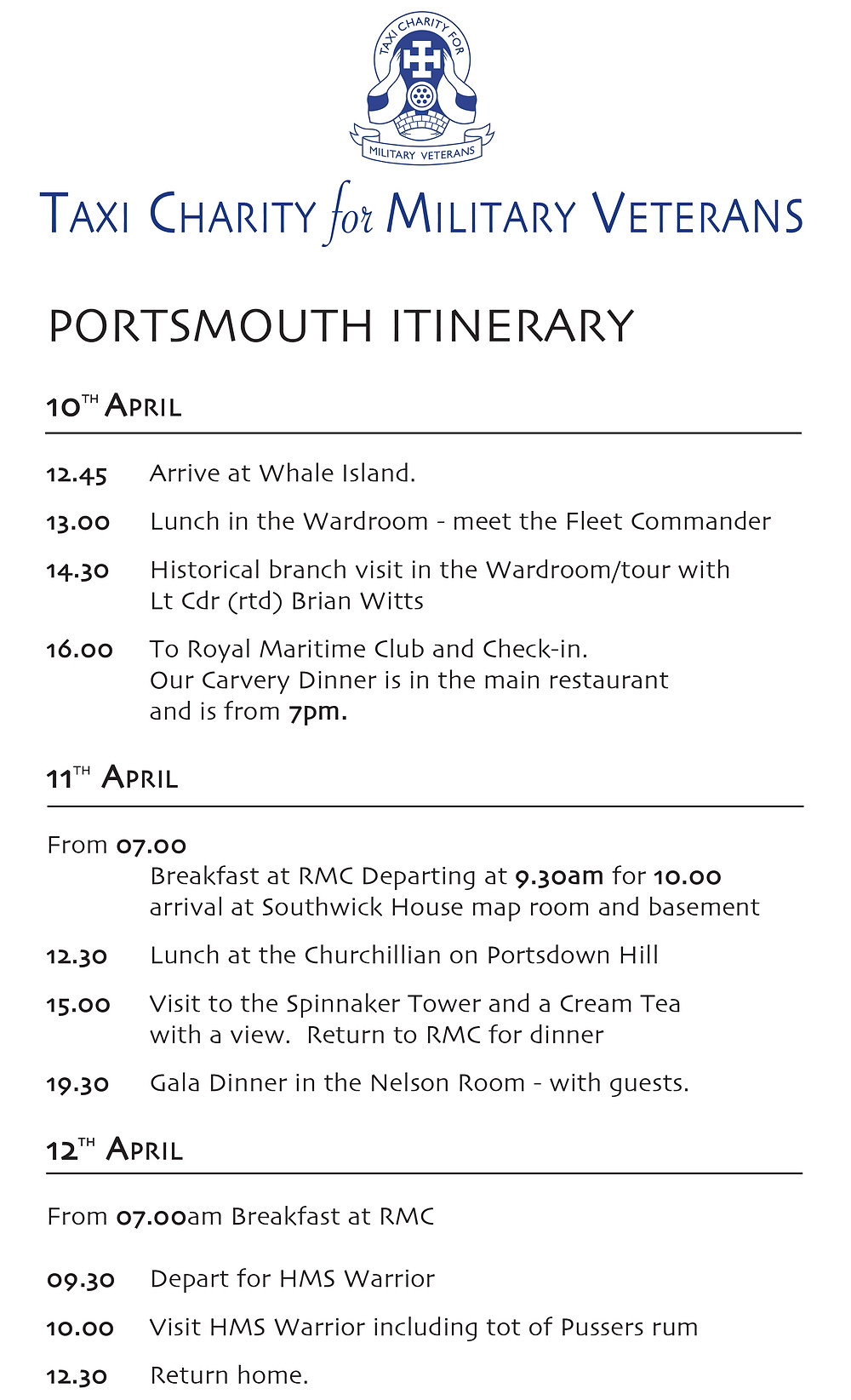 Portsmouth Itinerary