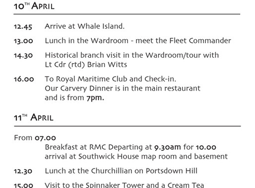 Itinerary for Navy Veterans Trip to Portsmouth