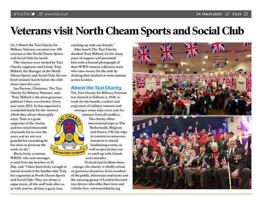 Veterans visit North Cheam Sports and Social Club, TAXI