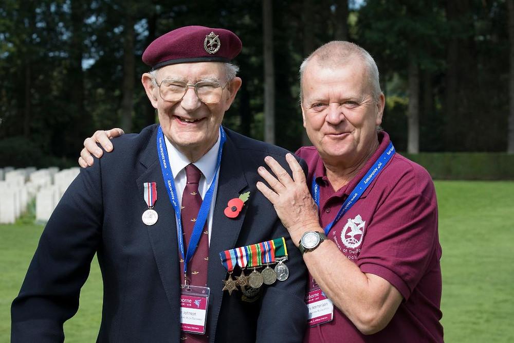 Arnhem veteran Ron Johnson with Frans Ammerlaan, Treasurer of Market Garden Foundation