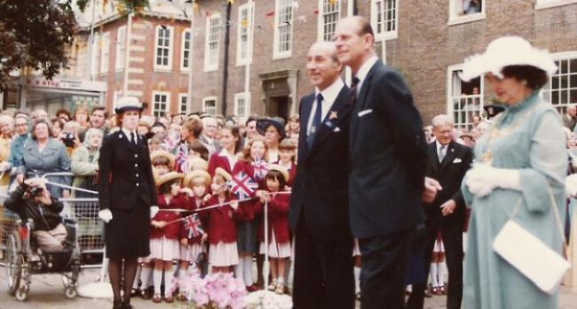 Harry Joel with the Duke of Edinburgh in 1979
