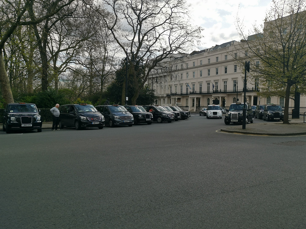 The cabbies muster in Belgrave Square