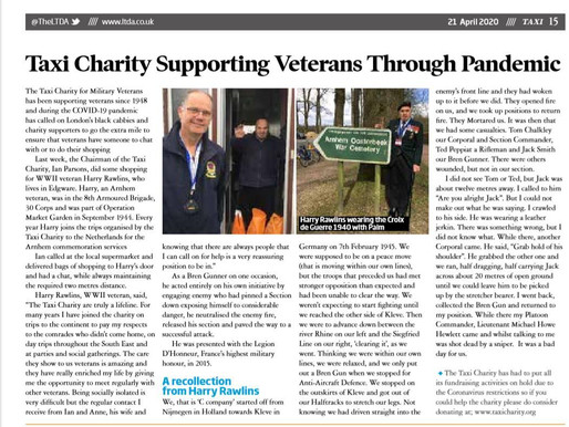 Taxi Charity supporting veterans through pandemic, TAXI