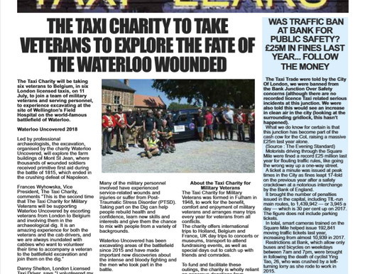 The Taxi Charity to take veterans to explore the fate of the Waterloo wounded, The Badge
