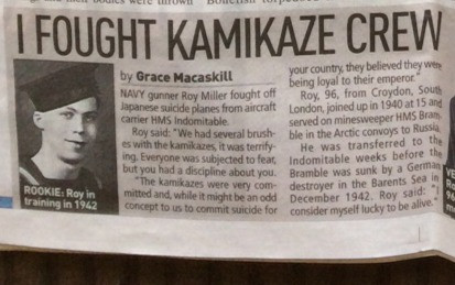 Roy Miller: I fought kamikaze crew, Sunday People