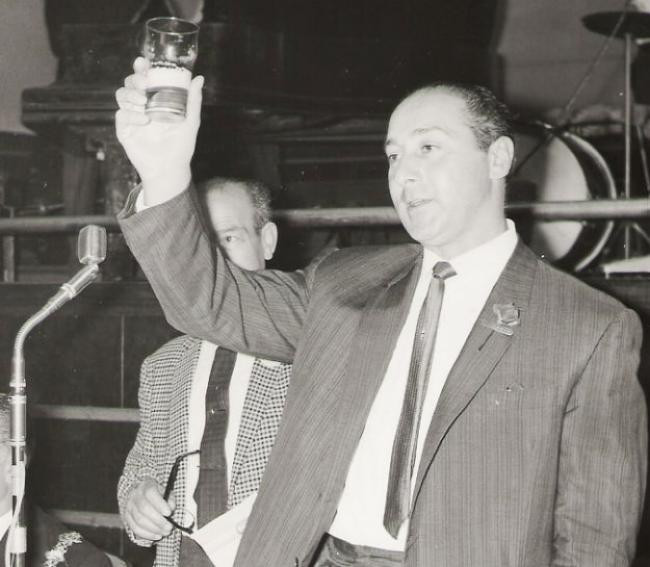 Harry Joel toasts war veterans at Worthing in 1967