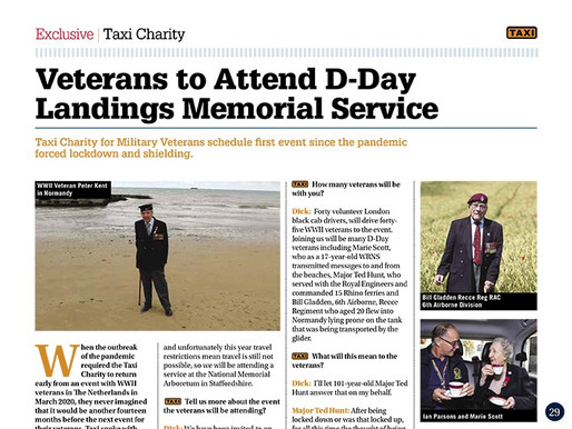 Veterans to attend D-Day landings memorial service at  the National Memorial Arboretum, TAXI