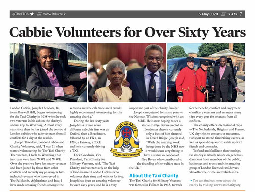 Cabbie volunteers for over sixty years, TAXI