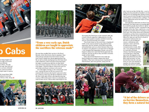 Taxi Charity News: Check out our five-page article in Legion magazine