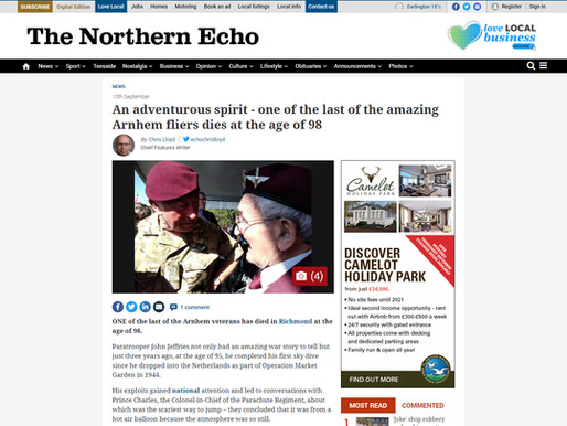 One of the last of the amazing Arnhem fliers dies at the age of 98, The Northern Echo