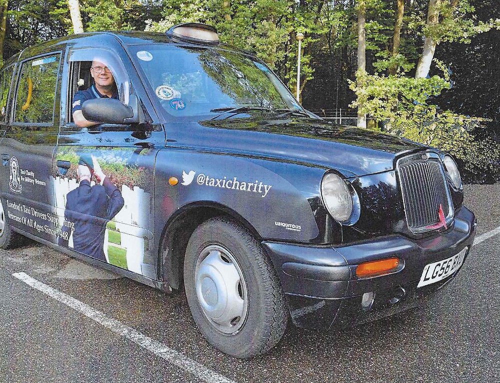 Taxi Charity chairman, Ian Parsons, in his cab at Wandeltocht