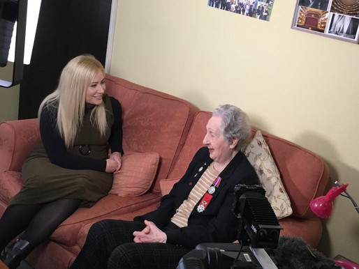WWII switchboard operator Marie Scott interviewed by ITV London, ITV Evening News and Channel 4 News