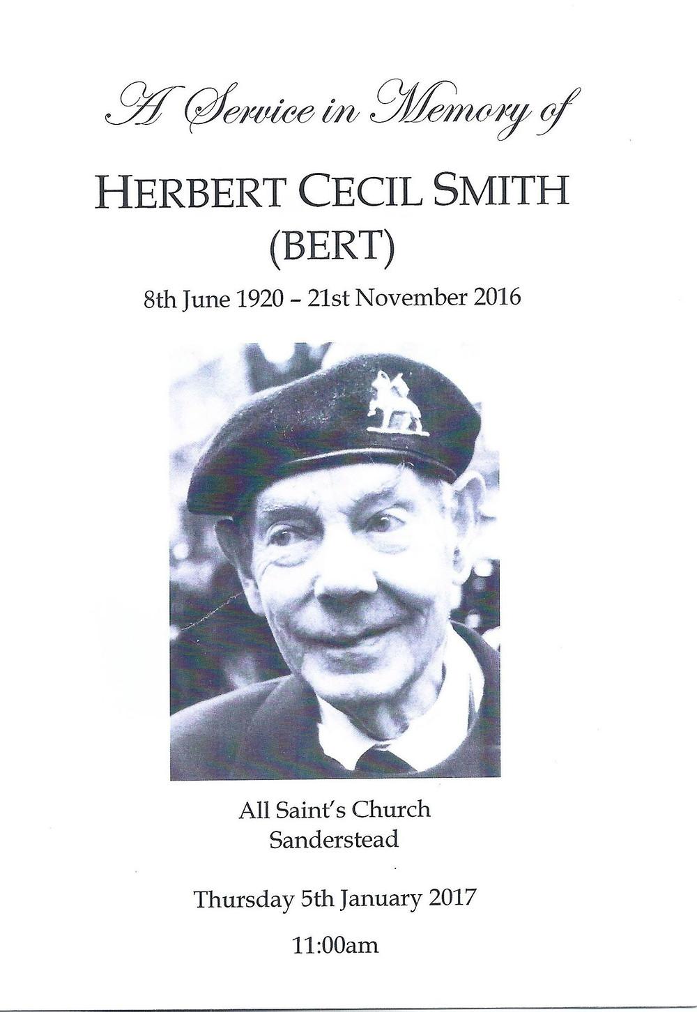 Bert Smith - Order of Service