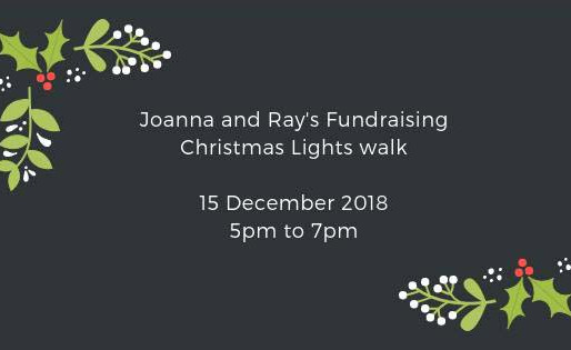 Join Joanna and Ray's Christmas Lights Walk and raise funds for the Taxi Charity