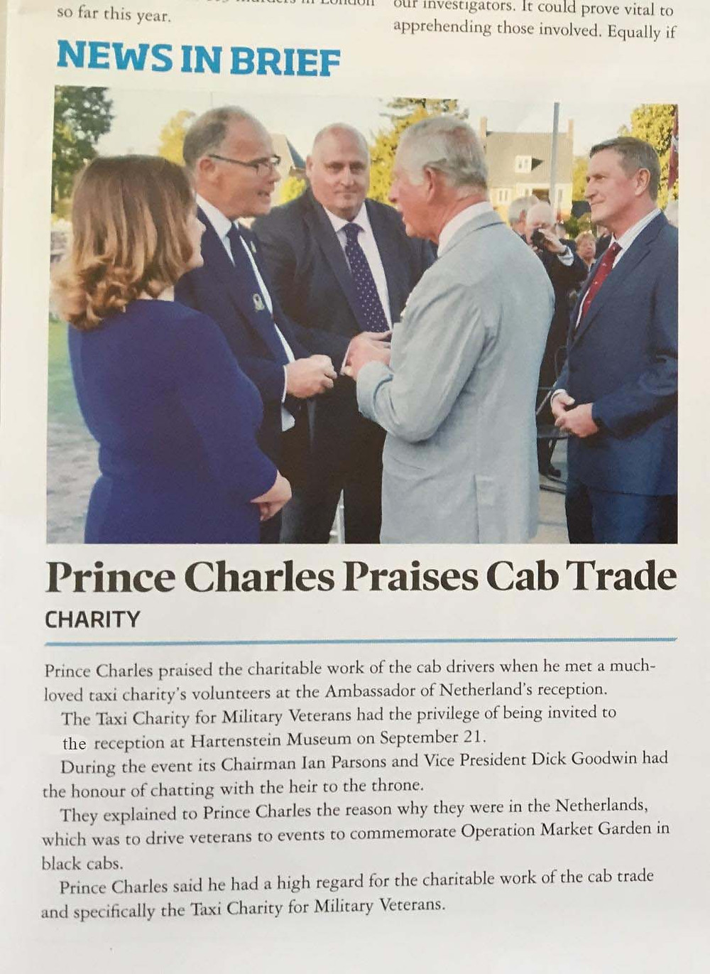 Prince Charles praises cab trade, TAXI magazine