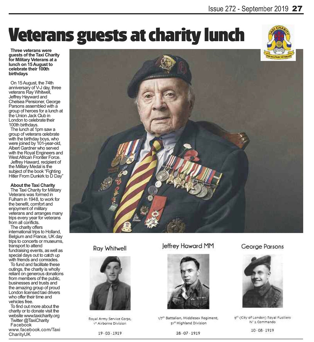 Veterans guests at charity lunch, The Badge