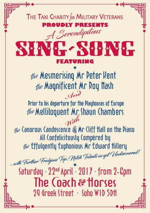 Taxi Charity organises veterans sing-song at The Coach & Horses, Soho