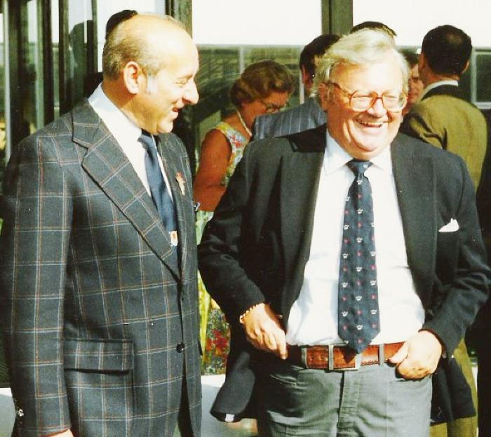 Harry Joel with Sir Harry Secombe in 1982