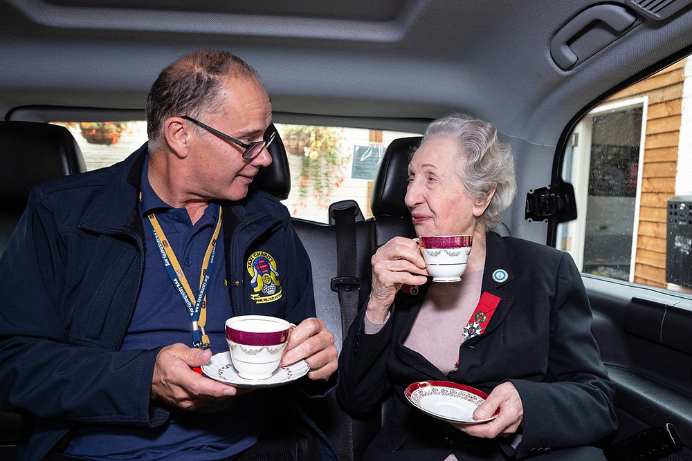 Ian Parsons, Chairman of the Taxi Charity, and Marie Scott