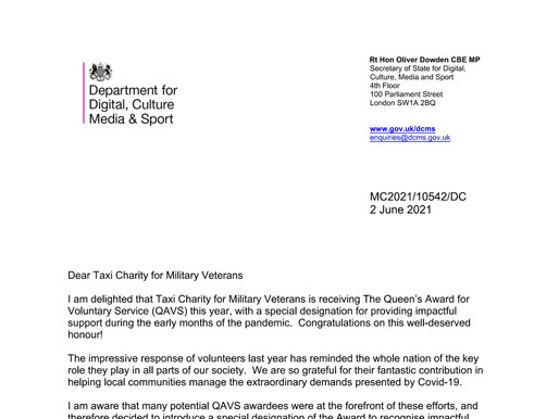 Letter from Rt Hon Oliver Dowden asking us to pass on his thanks to our volunteers