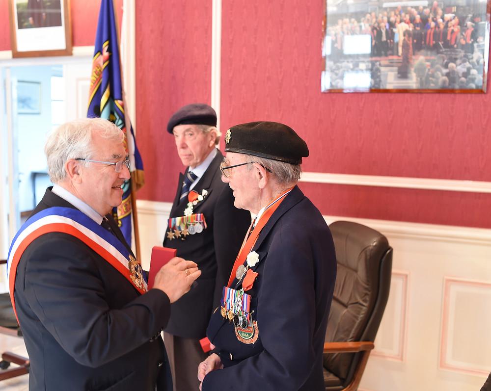 Harry Bailey receiving the Légion d'Honneur in 2016