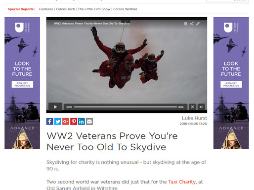 WW2 veterans prove you're never too old to skydive, Forces TV