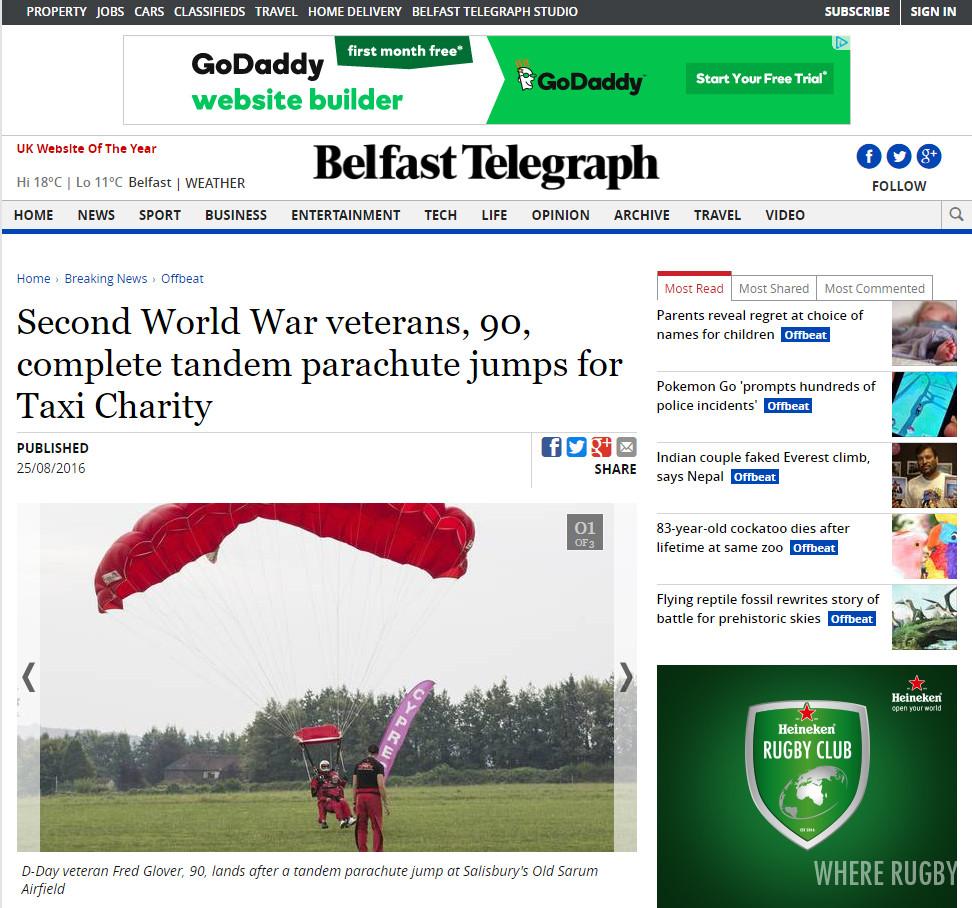 Second World War veterans, 90, complete tandem parachute jumps for Taxi Charity, Belfast Telegraph
