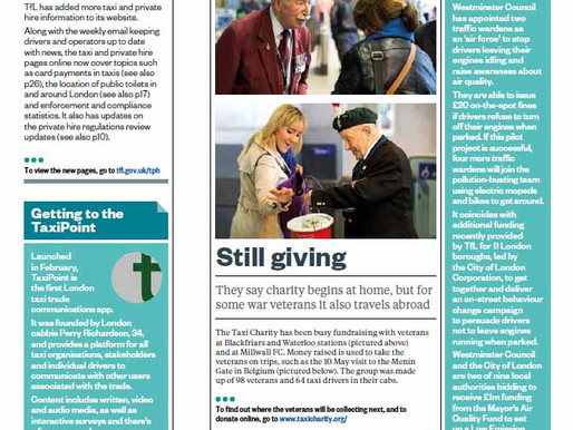 Taxi Charity in the Press: Still giving, OnRoute magazine - June/July 2016