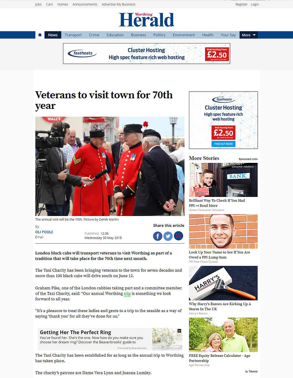 Veterans to visit town for 70th year, Worthing Herald