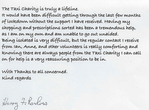 """""""The Taxi Charity is truly a lifeline"""" - Harry Rawlins, aged 94"""