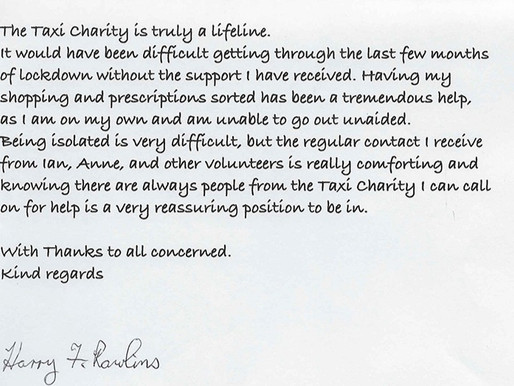 """The Taxi Charity is truly a lifeline"" - Harry Rawlins, aged 94"
