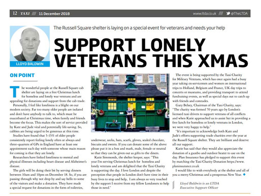 Support lonely veterans this Christmas, The Taxi Newspaper