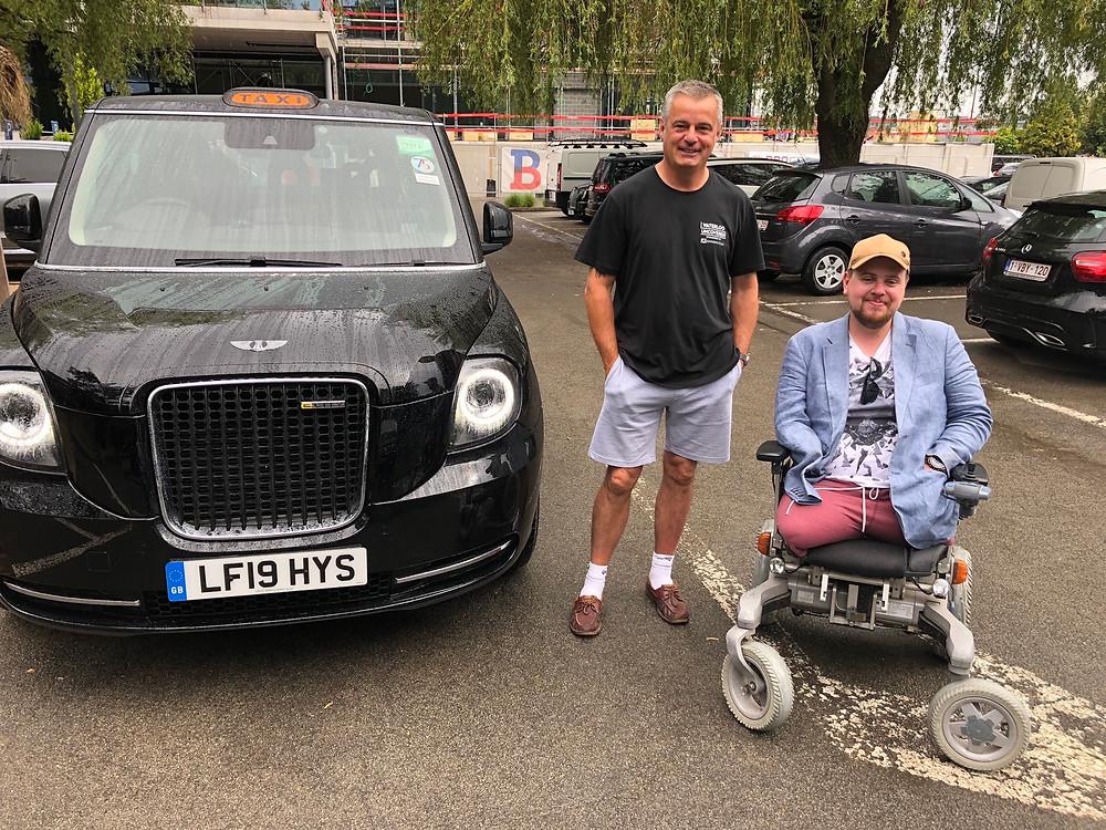 Taxi Charity volunteer driver Dave Hemstead with Matt Weston