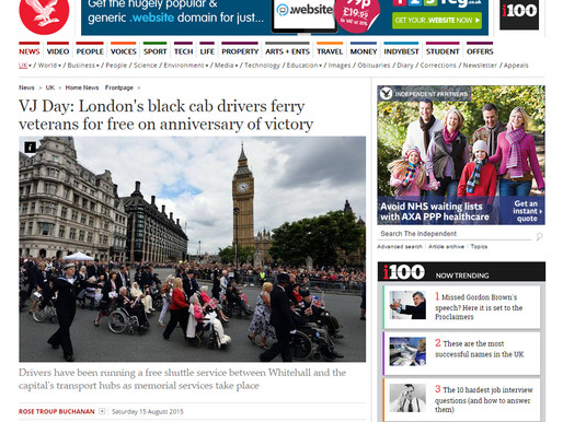 Taxi Charity in the press: The Independent, 15 August 2015