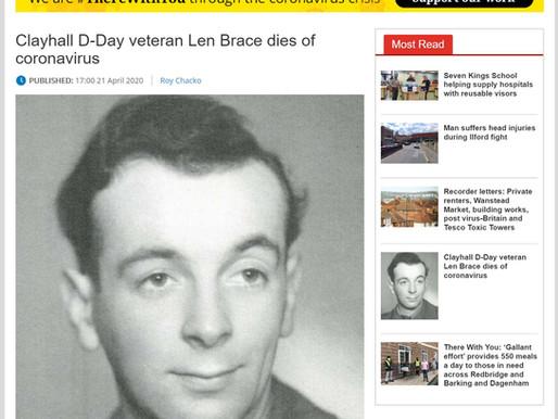 Clayhall D-Day veteran Len Brace dies of coronavirus, Ilford Recorder