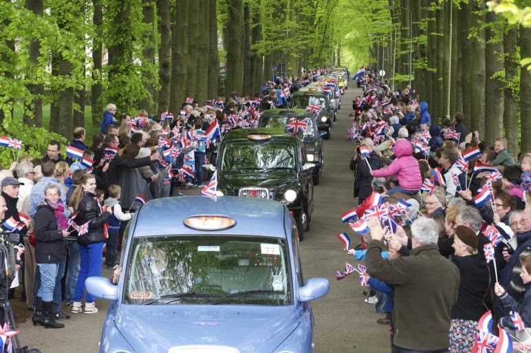 Veterans travelling with the Taxi Charity arrive in Oosterbeek, May 2012