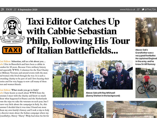 TAXI catches up with cabbie Sebastian Philp following his tour of Italian battlefields