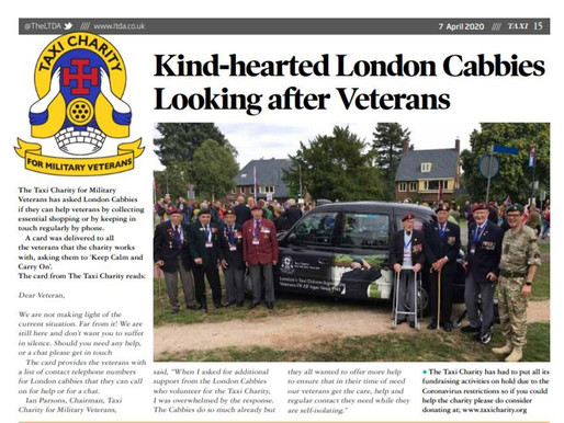 Kind-hearted London cabbies looking after veterans, TAXI