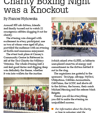 Charity boxing night was a knockout, Taxi magazine