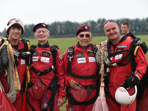 100th skydive for Chelsea Pensioner along with WWII veterans, Fred and Ted
