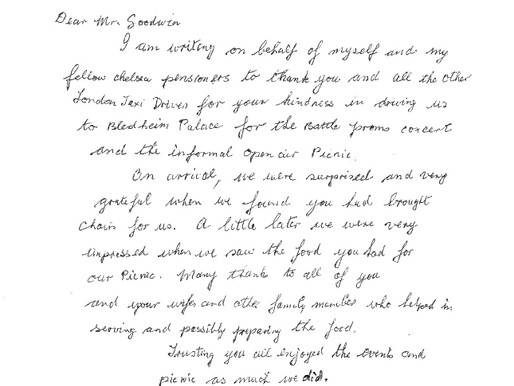 """""""Thank you for your kindness in driving us to Blenheim Palace"""" - Joan McLoughlin"""